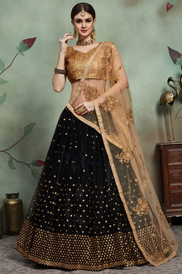 Graceful Black Net Fabric Lehenga With Sequence Embroidery Blouse