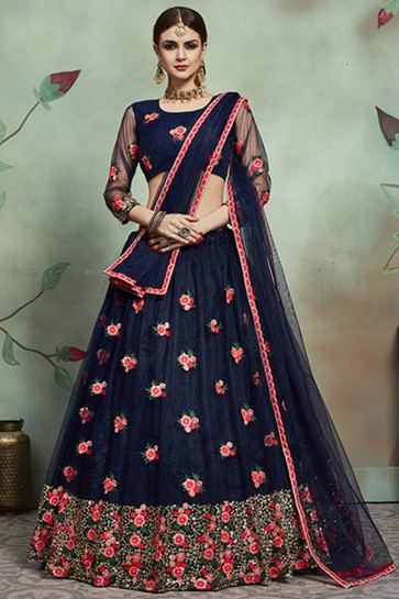Navy Blue Thread And Sequins Work Lehenga Choli With Net Dupatta