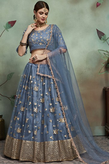Stylish Grey Zari And Sequins Work Lehenga And Blouse With Net Dupatta