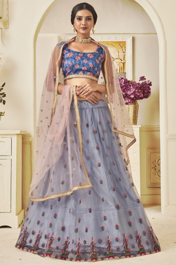 Classy Grey Thread Work And Lace Work Net Lehenga Choli WIth Net Dupatta