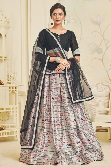 Excellent Off White Satin Digital Print And Lace Work Lehenga Choli WIth Net Dupatta