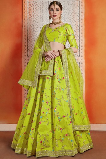 Fascinating Light Green Art Silk Zari Work And Thread Work Lehenga Choli With Net Dupatta