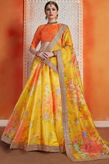 Lovely Orange Sequins Work And Zari Work Organza Lehenga Choli WIth Net Dupatta