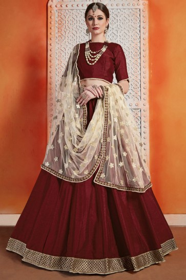Gorgeous Maroon Zari Work Art Silk Lehenga Choli WIth Net Dupatta