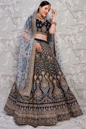 Thread And Zari Work Navy Blue Satin Fabric Designer Lehenga Choli With Net Dupatta
