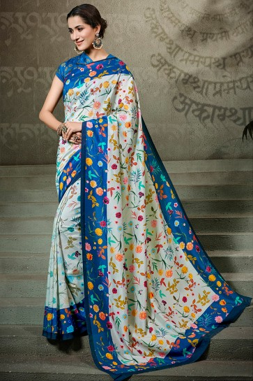 Stunning Off White Printed Silk Saree And Blouse