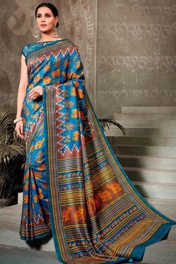 Superb Printed Blue Silk Saree And Blouse