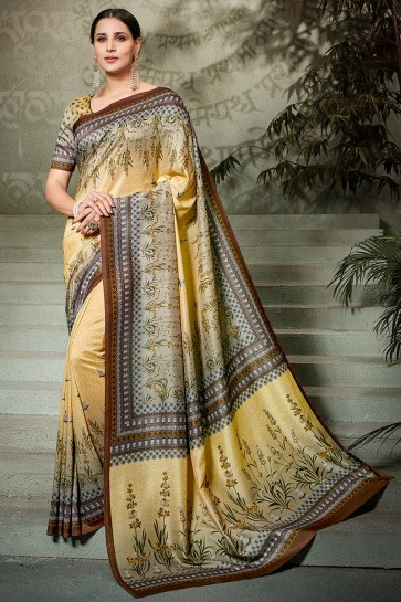 Ultimate Beige Printed Silk Saree And Blouse