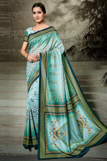 Optimum Sky Blue Printed Designer Silk Saree And Blouse