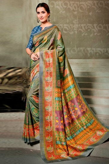 Admirable Green Printed Designer Silk Saree And Blouse