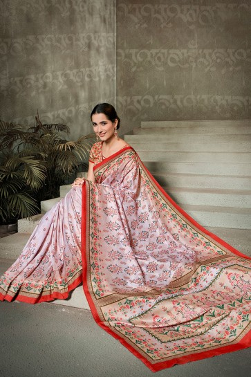 Supreme Pink Printed Silk Saree And Blouse