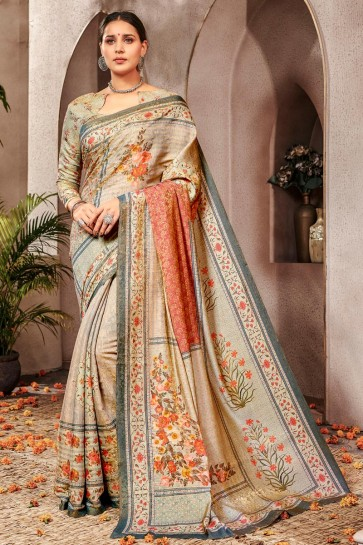 Ultimate Printed Silk Beige Saree And Blouse