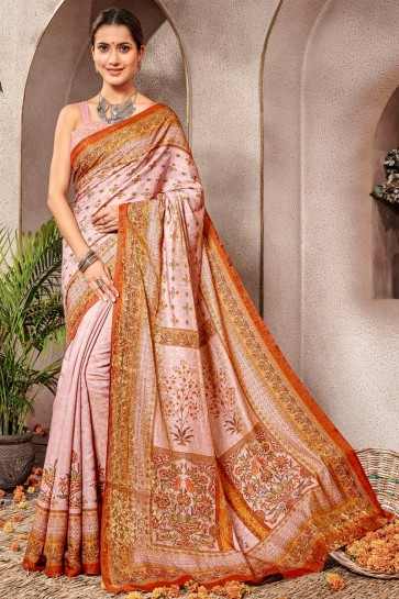 Admirable Baby Pink Printed Designer Silk Saree And Blouse