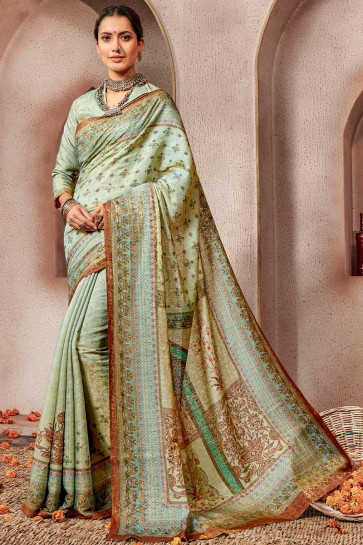 Charming Pista Printed Silk Saree And Blouse