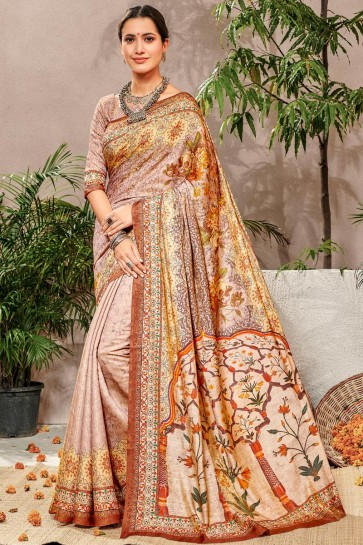 Heavy Designer Multi Color Printed Designer Silk Saree And Blouse