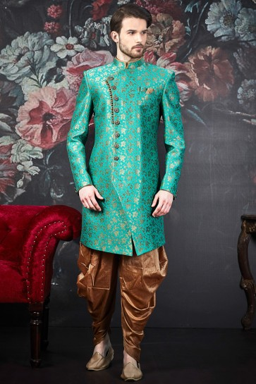 Pattern Turquoise Jacquard Silk Brocade Solid Indo Western With Art Silk Bottom