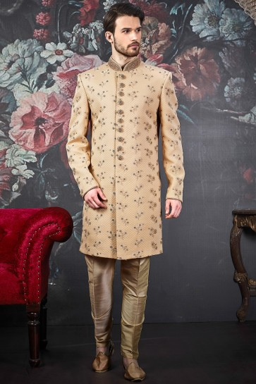 Jacquard Silk Brocade Fabric Beige Indo Western With Dhupion Art Silk Bottom