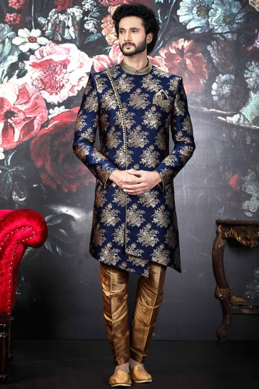 Pattern Blue Jacquard Silk Brocade Indo Western With Dhupion Art Silk Bottom