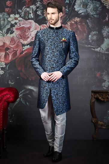 Stunning Blue And Black Imported Jacquard Indo Western With Dhupion Art Silk Bottom