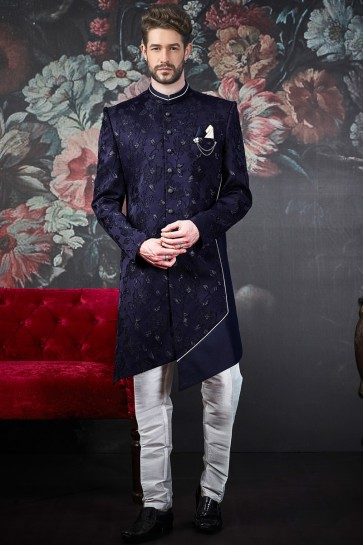Admirable Purple Pattern Work Imported Jacquard Indo Western With Dhupion Bottom