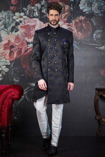 Imported Jacquard Designer Black And Blue Indo Western With Dhupion Art Silk Bottom