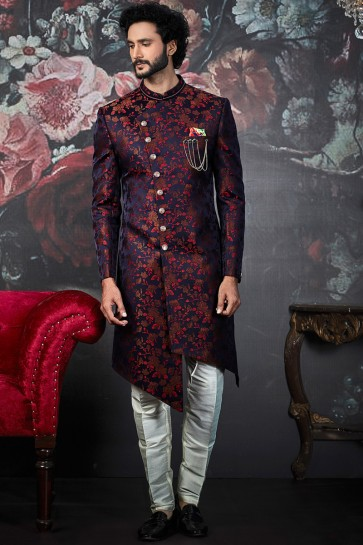 Pattern Work Blue And Maroon Imported Jacquard Indo Western With Dhupion Art Silk Bottom