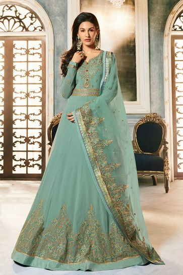 Amyra Dastur Embroidered Aqua Georgette Fabric Abaya Style Anarkali Suit With Net Dupatta