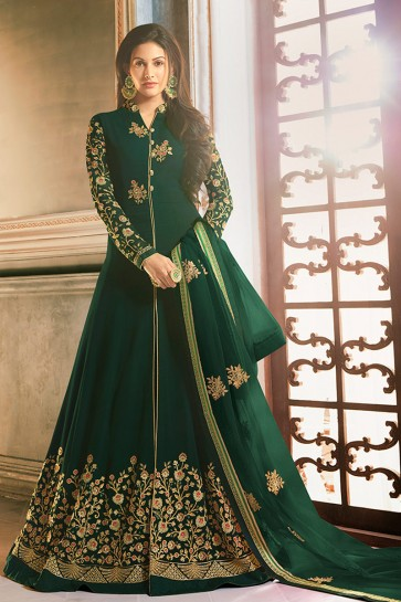 Amyra Dastur Abaya Style Green Georgette Embroidered Anarkali Suit And Dupatta