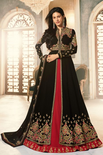Amyra Dastur Designer Black Embroidered Abaya Style Anarkali Suit With Georgette Dupatta