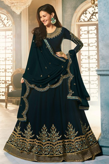 Amyra Dastur Party Wear Navy Blue Georgette Abaya Style Anarkali Suit And Dupatta