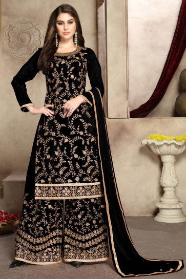 Silk Viscose Fabric Black Embroidered And Zari Work Plazzo Suit With Georgette Dupatta