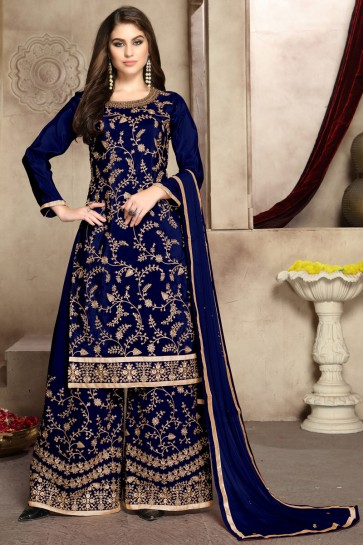 Party Wear Zari Work And Embroidered Blue Viscose Silk Fabric Plazzo Suit With Georgette Dupatta