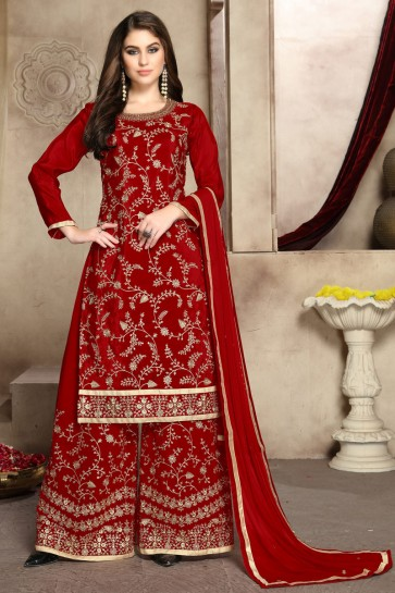 Viscose Silk Fabric Red Zari Work And Embroidered Designer Plazzo Suit And Georgette Bottom