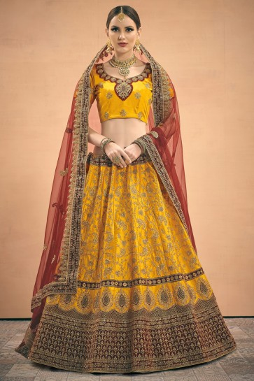 Yellow Zari Work Designer Satin Fabric Lehenga Choli With Net Dupatta