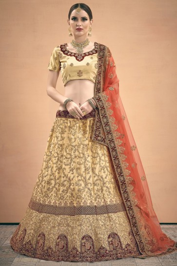 Zari Work Designer Cream Satin Fabric Lehenga Choli With Net Dupatta