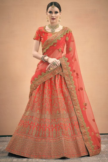 Satin Fabric Peach Zari Work Designer Lehenga Choli With Net Dupatta