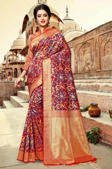 Pretty Red Zari Work And Weaving Work Silk Saree And Blouse