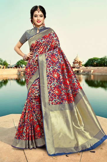 Lovely Weaving Work And Zari Work Blue Silk Saree And Blouse