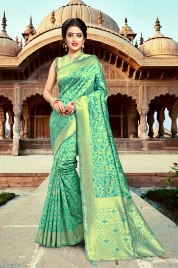 Delicate Green Zari Work And Weaving Work Silk Saree And Blouse