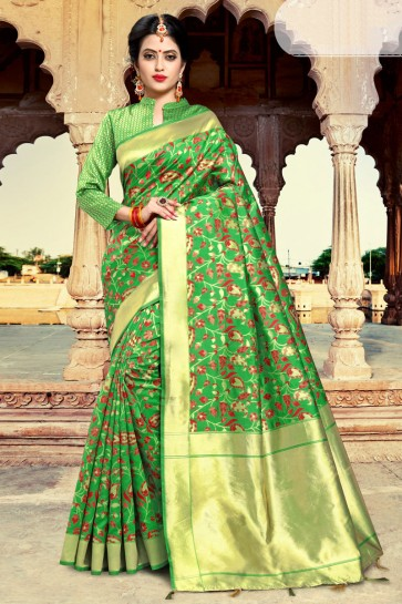 Excellent Wear Green Weaving Work And Zari Work Silk Saree And Blouse