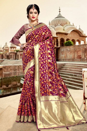 Supreme Purple Weaving Work And Zari Work Silk Saree And Blouse