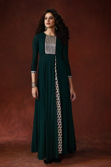 Party Wear Embroidered And Hand Work Teal Silk Fabric Gown