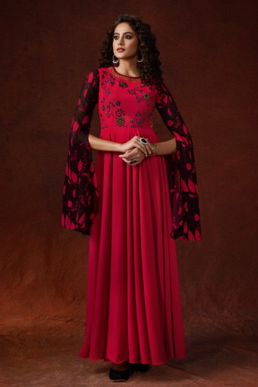 Silk Fabric Red Embroidered And Hand Work Work Stylish Gown