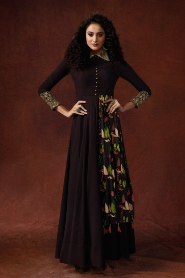 Embroidered And Hand Work Brown Silk Fabric Superb Gown