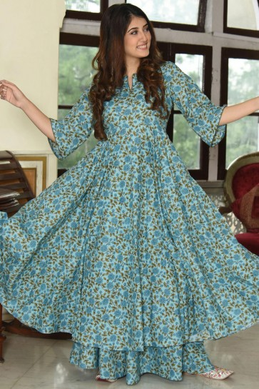 Marvelous Light Blue Printed Muslin Plazzo Suit And Bottom