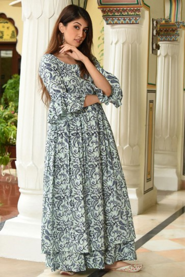 Printed Pista Muslin Plazzo Suit And Bottom