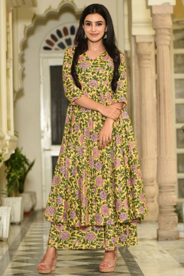 Gorgeous Muslin Yellow Printed Plazzo Suit And Bottom