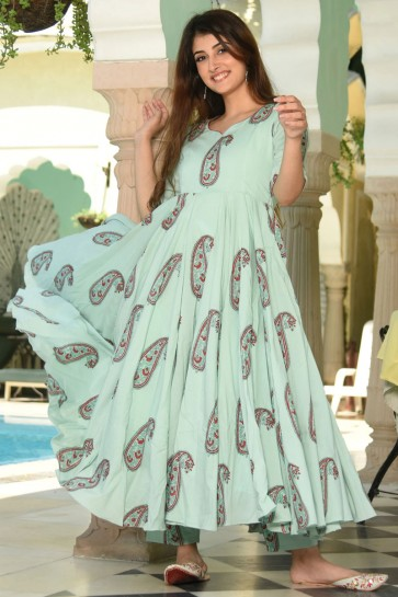 Sea Green Muslin Printed Plazzo Suit And Bottom