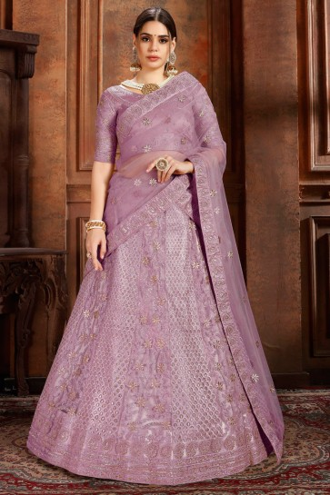 Desirable Wine Net Fabric Thread Work And Zari Work Lehenga With Stone Work Blouse