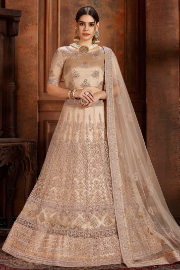 Stylish Beige Thread Work And Zari Work Net Fabric Lehenga Choli And Dupatta